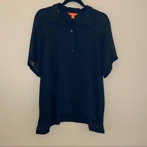 Joe Fresh black button up blouse with sheer sleeve